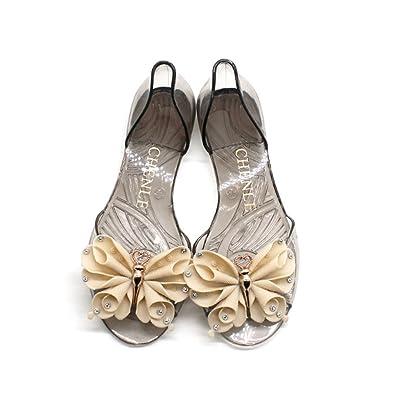 3b3fc9321 GIY Women s Clear Jelly Bow Sandals Shoes Transparent Summer Beach Flat  Jellies Water Sandals Beige