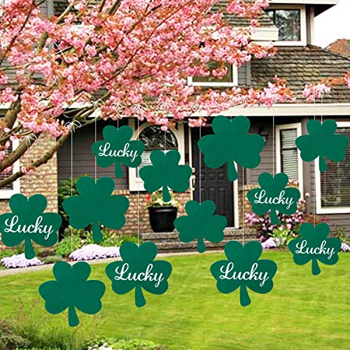St Patricks Day Hanging Shamrock Lawn Decorations - 12Pcs, Green - Indoor Outdoor Shamrock Clover Sign Decor