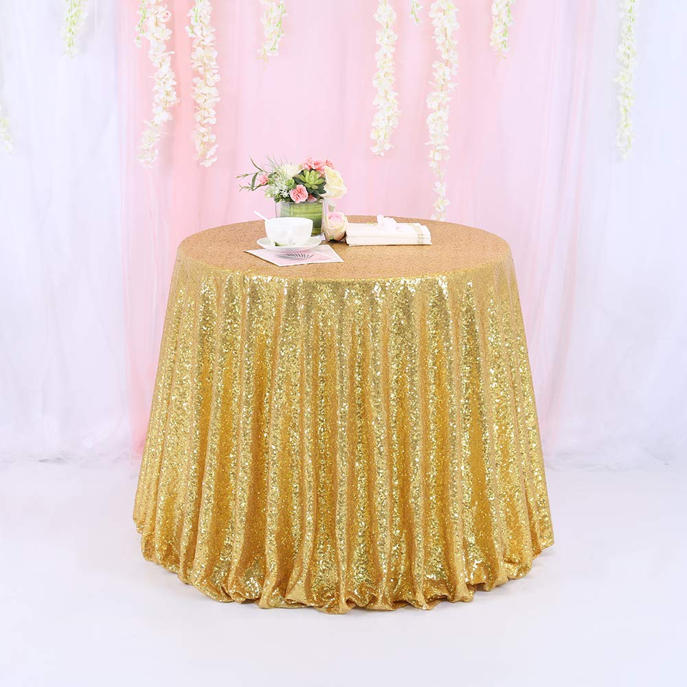 72'' Round Sparkly Gold Sequin Table Cloth Sequin Table Cloth,Cake Sequin Tablecloths, Sequin Linens for Wedding