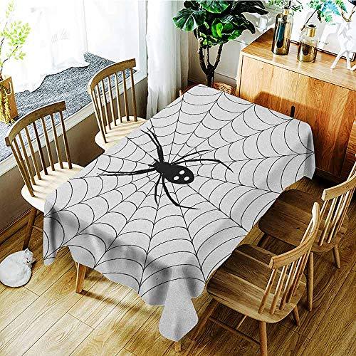XXANS Tablecloth,Spider Web,Poisonous Bug Venom Thread Circular Cobweb Arachnid Cartoon Halloween Icon,Dinner Picnic Table Cloth Home Decoration,W60x120L Black White]()