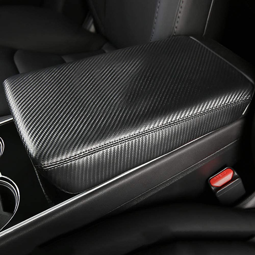 AAGiiLEEYO Car Armrest Box Cover Center Console Saver Covers for 2018 2019 Tesla Model 3,Carbon Fiber