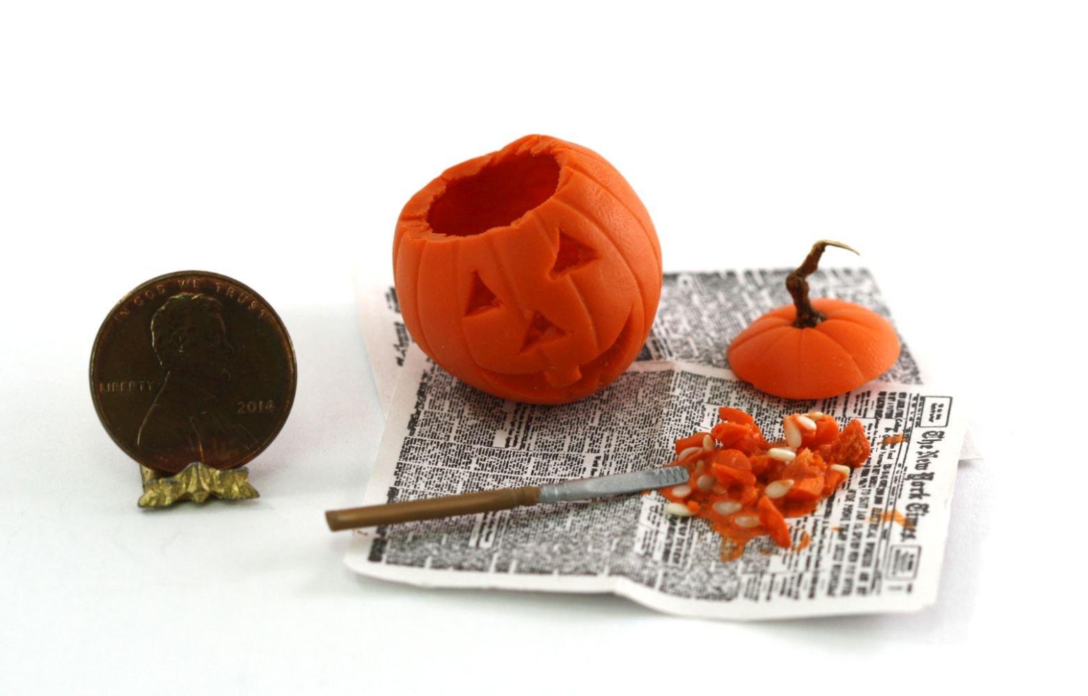 Dollhouse Miniature Halloween Pumpkin Carving in Progress by Amy Robinson
