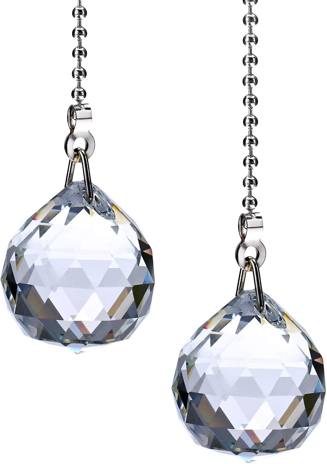 2 cadenas de extensión de cristal chapado en níquel con colgante de bola de cristal ajustable de 1 m para ventiladores y luces