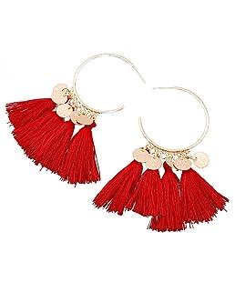 OuYou Femme Boucles d'Oreilles Pendantes Long Frange Vintage Pendentif Fantaisie Ethnique Bijoux (Rouge)