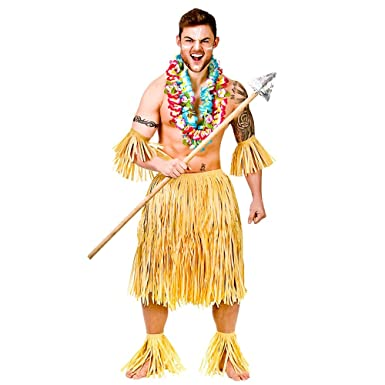 55cada50 Hawaiian Party Guy Costume for Hawaii Tropical Beach Magnum Five O Fancy  Dress 5pc Set/Authentic Raffia: Amazon.co.uk: Clothing