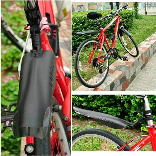 Keenso Tyre Mud Guard,4 Colors Durable Mountain Bike Front /& Rear Fenders Tyre Mudguards with LED Taillight