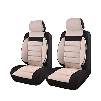 CAR PASS Universal Two Front Car Seat Covers Set - Black / Beige: Automotive [5Bkhe0805433]