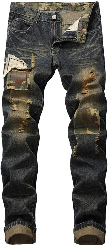 ジーンズ穴手描きジーンズ男性スリムストレート人格レトロ若者猫ウィスカパッチファッションbe食パンツ
