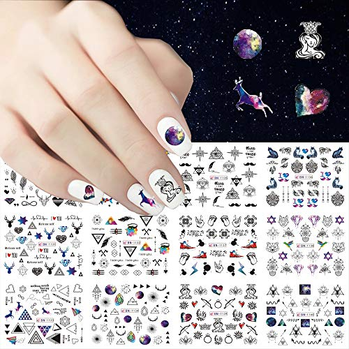 JMEOWIO Nails Stickers 12 Sheets Nail Art Decals Jewelry Flower Geometry Letter Decals Slider Manicure Series Designs for Women Nail Beauty Manicure Tips Wraps Decorations