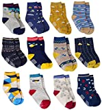 12 Pairs Baby Boys Socks Cotton Non Skid with Grips, Toddler Boy Anti-skid Socks (12 Colors - Car, Plane, Bike, Dinosaur, 6-12 Months)