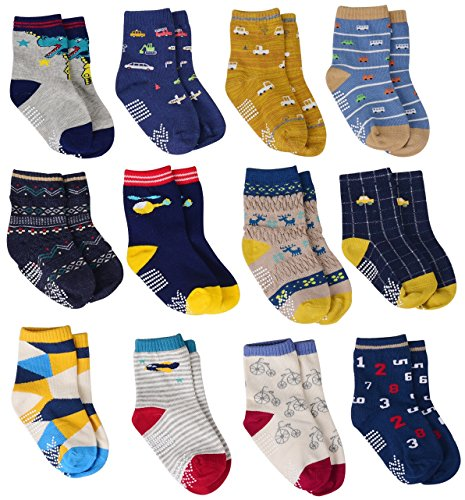 12 Pairs Baby Boys Socks Cotton Non Skid with Grips, Toddler Boy Anti-skid Socks (12 Colors – Car, Plane, Bike, Dinosaur…, 12-36 Months)
