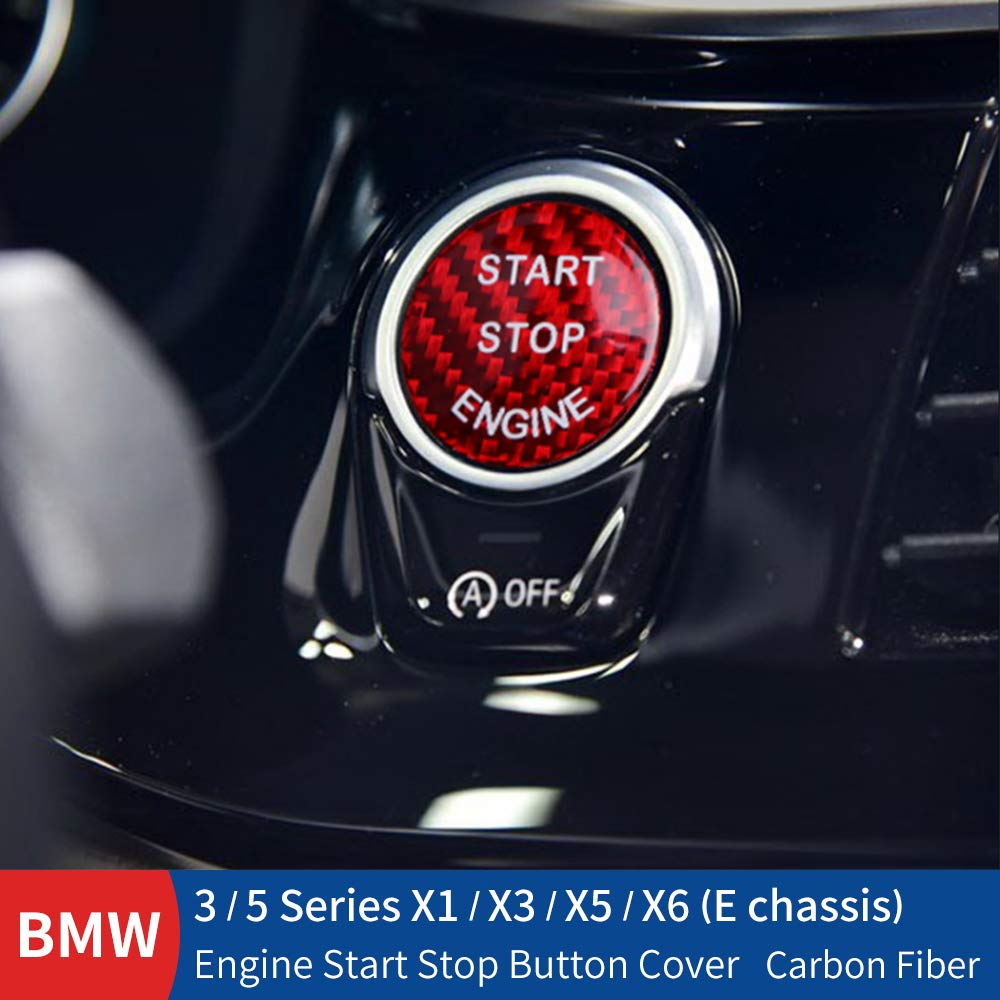 E Chassis, Black X1 X3 X5 X6 Huichi Car Engine Start Stop Switch Button Cover for BMW 3 5 Series