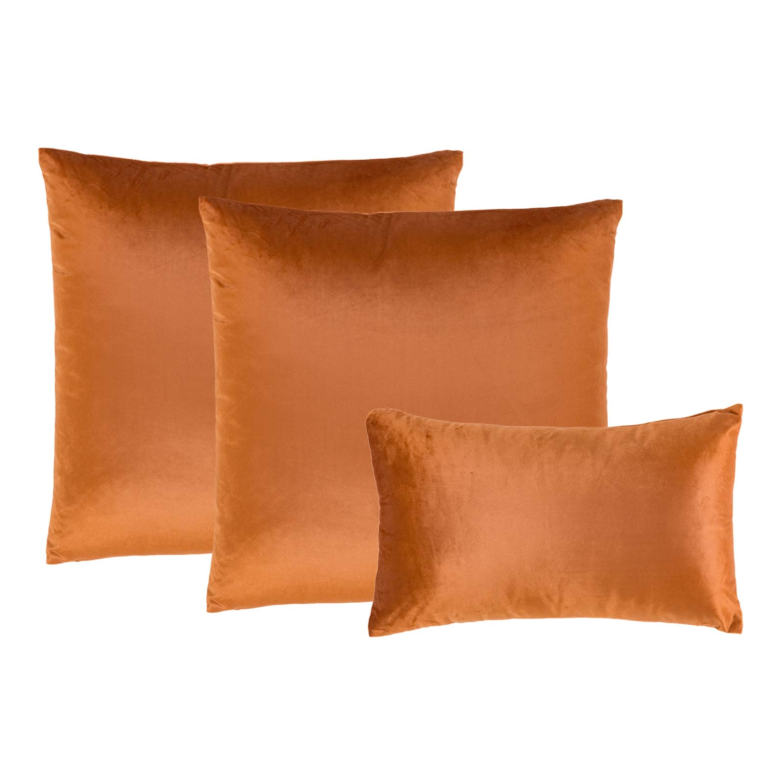 Decomall Super Soft Solid Decorative Square Throw Pillow Covers Set Cushion Case for Sofa Couch Bedroom Living Room, 20x20 inches,Rust, Pack of 2 + 1 of 12x20 inches