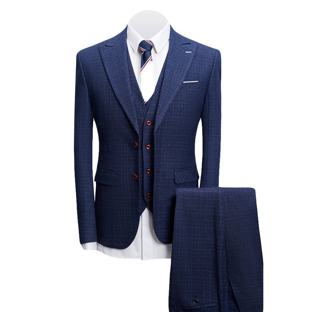 MAGE MALE Men's 3-Piece Suit Fine Lattice Pattern Business Suit Slim Single-Breasted Jacket Vest Pants Suit
