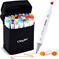 Ohuhu Art Markers Set, Dual Tips Coloring Marker Pens for Kids, Fine and Chisel Tip Double-Ended Alcohol Based Drawing Markers for Sketching Adult Coloring Book, Great Idea (40 Colors)