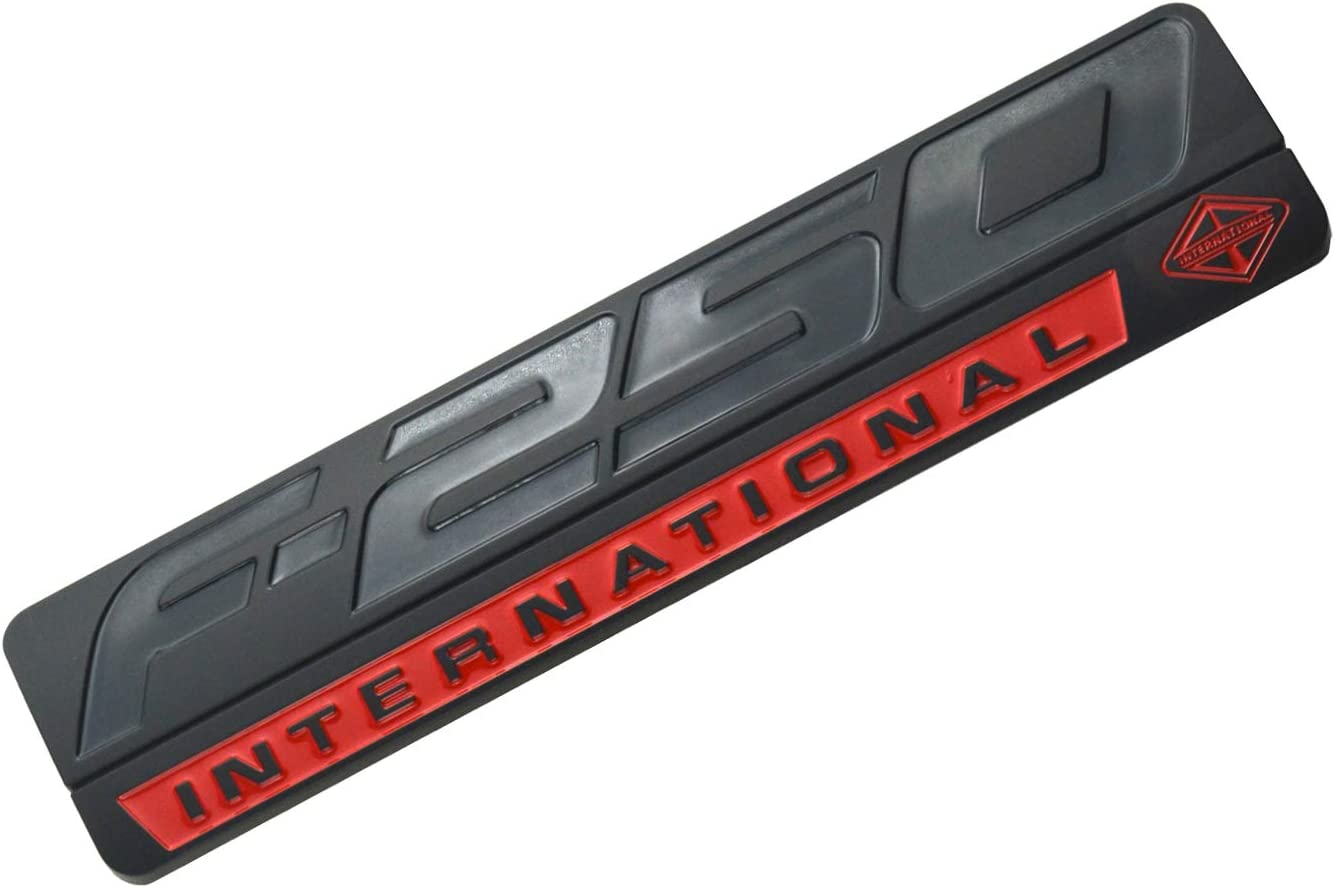 1 PCS F-250 INTERNATIONAL Emblem 3D Nameplate Badge Logo Decal Replacement for F250 Black//Red
