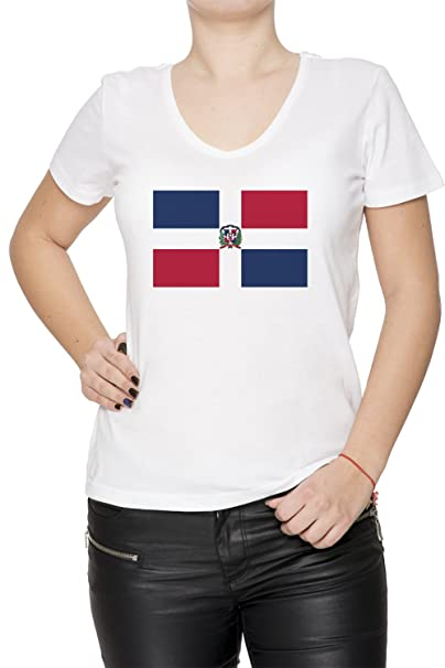 Dominicano República Nacional Bandera Mujer Camiseta V-Cuello Blanco Manga Corta Tamaño S Womens T