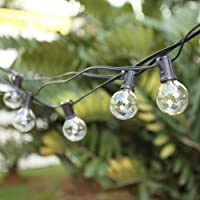 G40 Outdoor String Bulb Lights with 25 Clear Globe Bulb(2 Replacement Bulbs)- UL Certified 25Ft Waterproof String Lights…