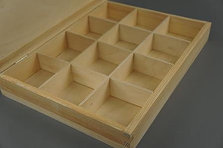 Plain cajas de madera 12 compartimentos de madera en el pecho ...