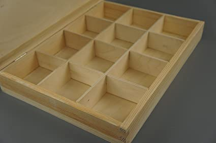 Plain cajas de madera 12 compartimentos de madera en el pecho Joyas de recuerdos 12-