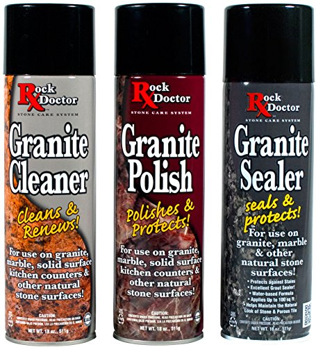 Rock Doctor Granite Repair Kit, 3 Piece Maintenance Stone Care Combo Kit - All-in-One Rock Surface Care System Includes Protective Granite Cleaner, Granite Polish & Granite Sealer (18oz Each) (Best Doctor On Earth)