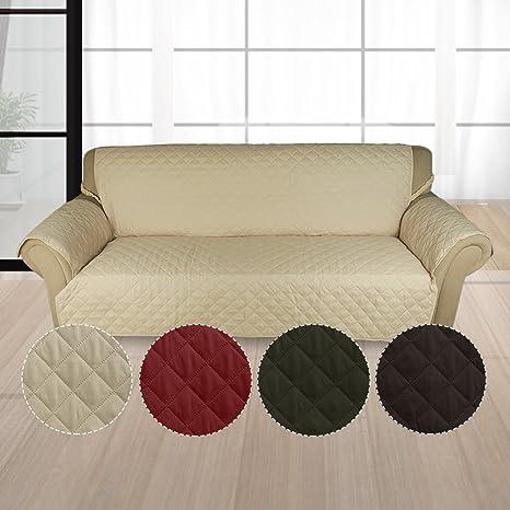 KINLO Funda de sofá Apta para Sofás Normales de 3 Plazas Sofa Protector Cubierta 167 × 165 cm cuadrícula Diseño Color Beige