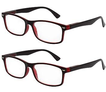 TBOC Gafas de Lectura Presbicia Vista Cansada - (Pack 2 Unidades) Graduadas +1.50 Dioptrías Montura Pasta ...