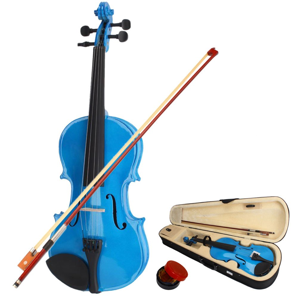 DESERT FOX 4/4 Full Size Acoustic Violin,Made from Basswood with Hard Case, Bow and Rosin (Blue)