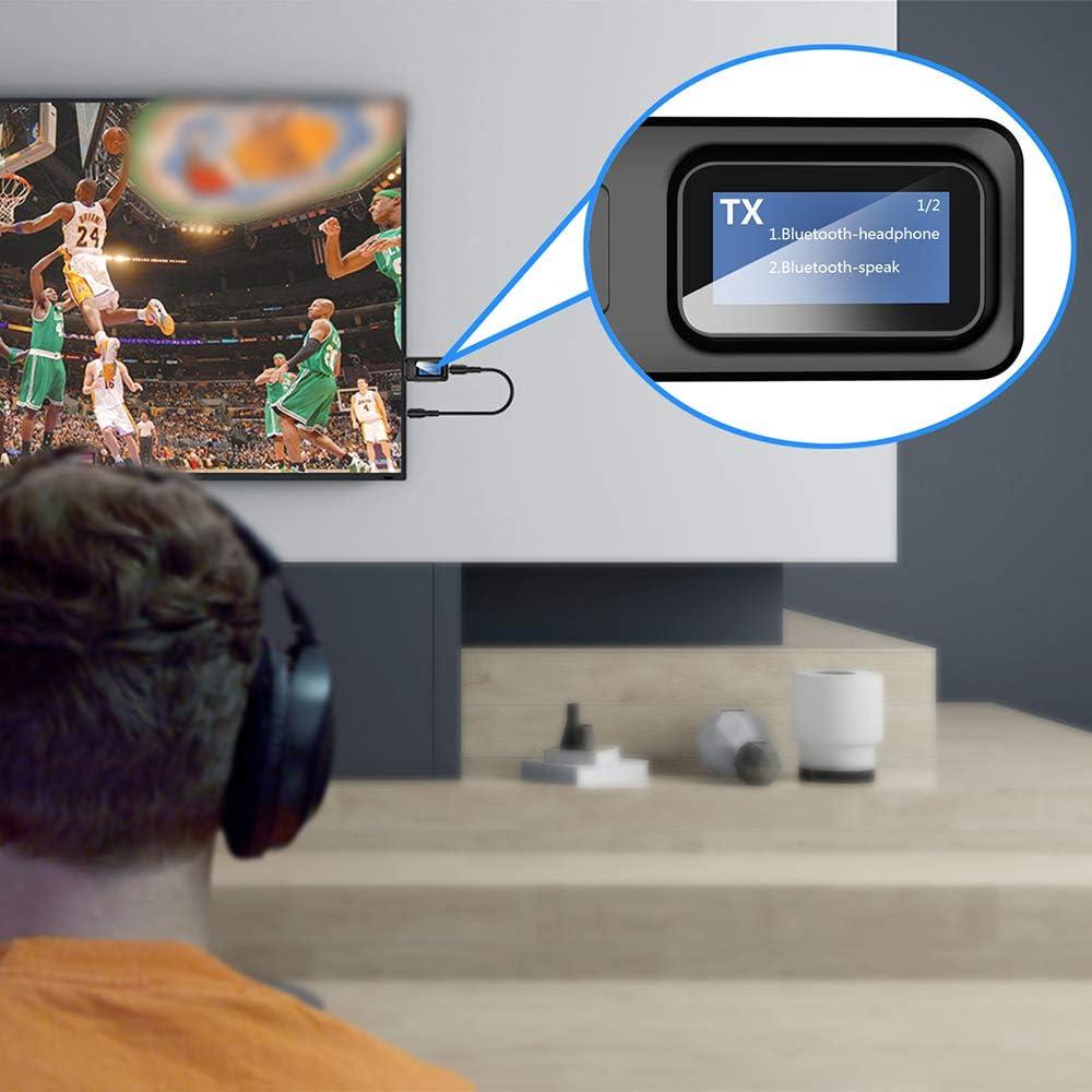 ZIIDOO Transmisor Bluetooth con Pantalla,Visual Transmisor Bluetooth y Receptor Bluetooth,2-en-1 USB Adaptador Bluetooth 5.0 para TV,PC,Auriculares,Altavoz: Amazon.es: Electrónica