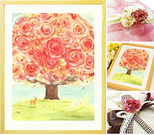 誕生日プレゼント 母親 絵画アート 「いのちの樹」【名前入れSサイズ】 感謝 母 お母さん 女性 花 60代 70代 80代 50代 祖母 人気 B01DK42FU0 Sサイズ Sサイズ