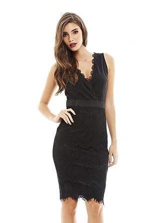 Amazon.com  AX Paris Women s V Front 2 Tone Lace Midi Dress  Clothing c951d5099