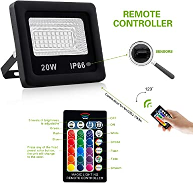 JOMITOP 10W LED Flood Light RGB with Remote Control IP66 Waterproof Floodlight,Indoor Outdoor Decorative Garden Landscape Lighting with Spiked Stand 16 Colors 4 Modes Wall Washer Light AC85-265 Volt
