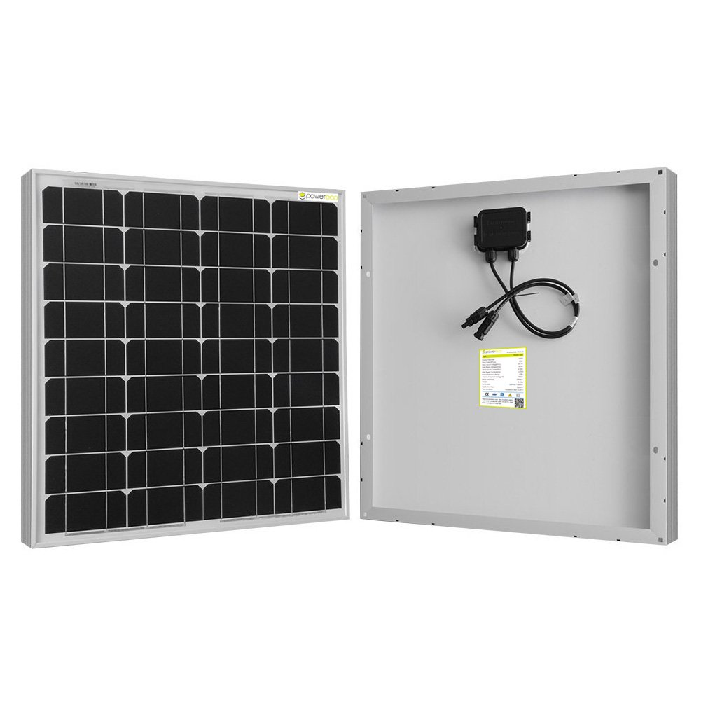 Powereco 50 Watt Solar Panel for 12V Battery of RV and Boat; Monocrystalline (50w, Solar Panel)