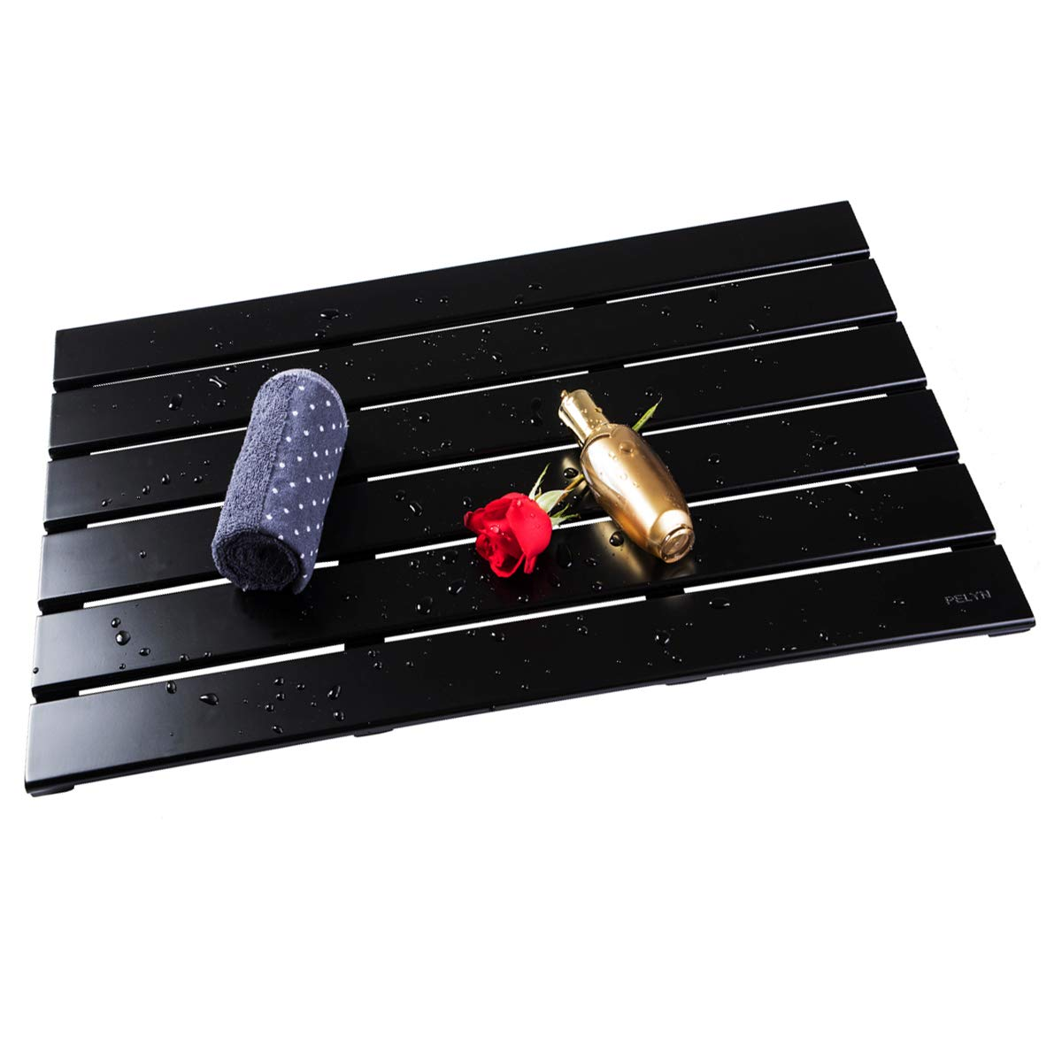 PELYN Bamboo Shower Bath Mat Great for Floor Bathroom Kitchen Pool Spa Outdoor and etc 31.5'' L x 18.5'' W (Black)