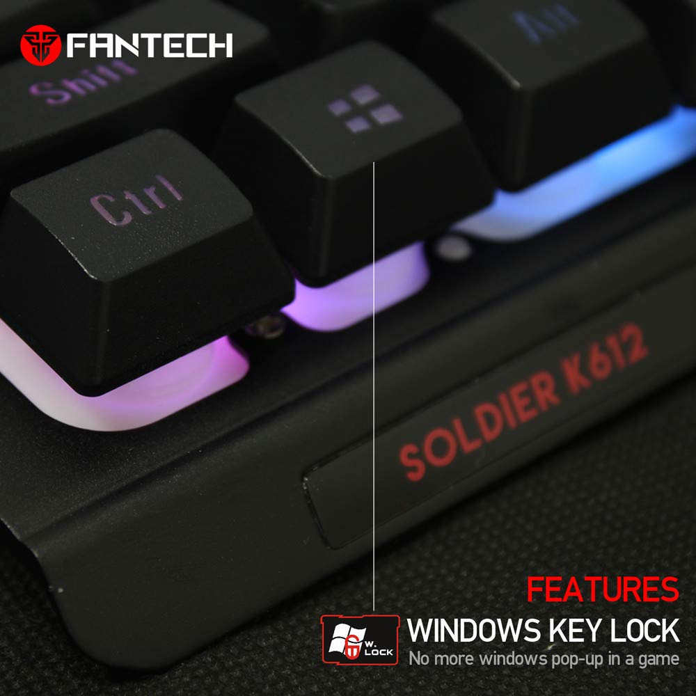 c306a836bd7 Amazon.com: HAHAP LED Backlit Wired Mechanical Gaming Keyboard,FANTECH K612  Professional Wired 9 Colors Backlight Game Waterproof Keyboard: Computers &  ...