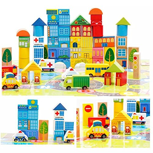 City Wooden Building Blocks Stacking Set Toys For Kids 16