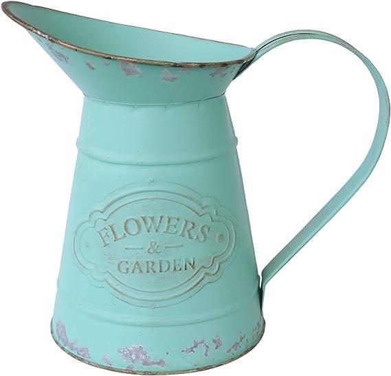 APSOONSELL White Metal Vase Tall Galvanized Vase Flower Pitcher Vintage Milk Can Jug Shabby Chic Vase Decor Rustic Farmhouse Kitchen Bathroom Decor