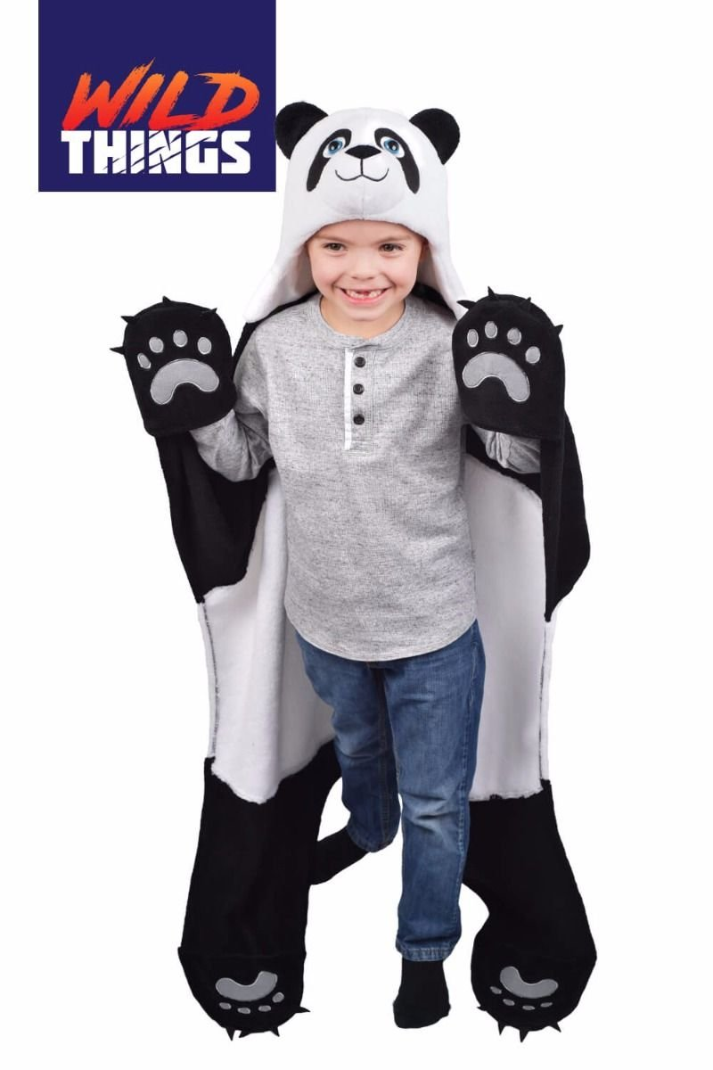 Fin Fun Bam Bu Panda Bear Wearable Wearable Hooded Blanket Wild Things CT-PAND-K