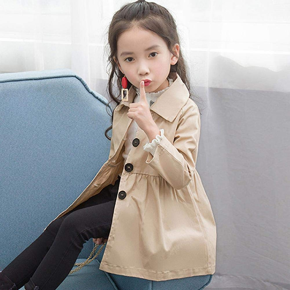 Camel 2-3Y AFfeco Kids Girl Long Sleeve Turn Down Collar Trench Coat Outerwear