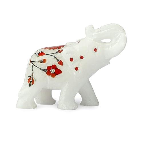 5 Marble Handmade Set of Two Elephant Inlay Carnelian Gemstone Floral Art Veterans Gift Decor