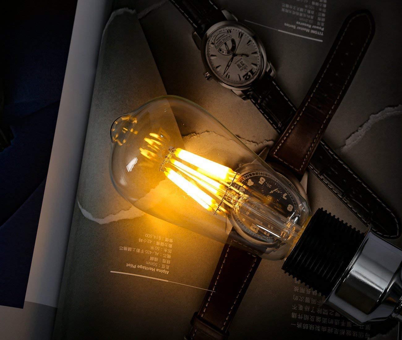 LED Bombilla de Edison Vintage Lámpara 4W E27 ST64 2700K Luz Blanca Cálida No regulable, Luxbird Retro Bombillas Decorativas para Jardín, salón, ...
