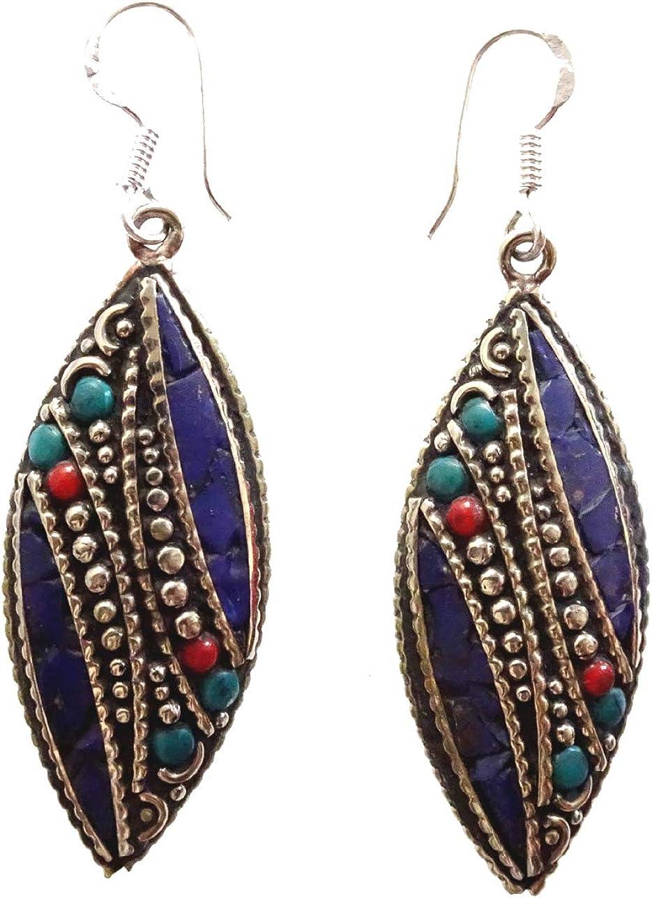 Lapis-Lazuli, turquesa, piedra preciosa Coral Chip embutido gota tibetano plata plateado pendientes para las mujeres budistas bohemio pendientes étnicos tribales moda pendientes hechos mano auténtica