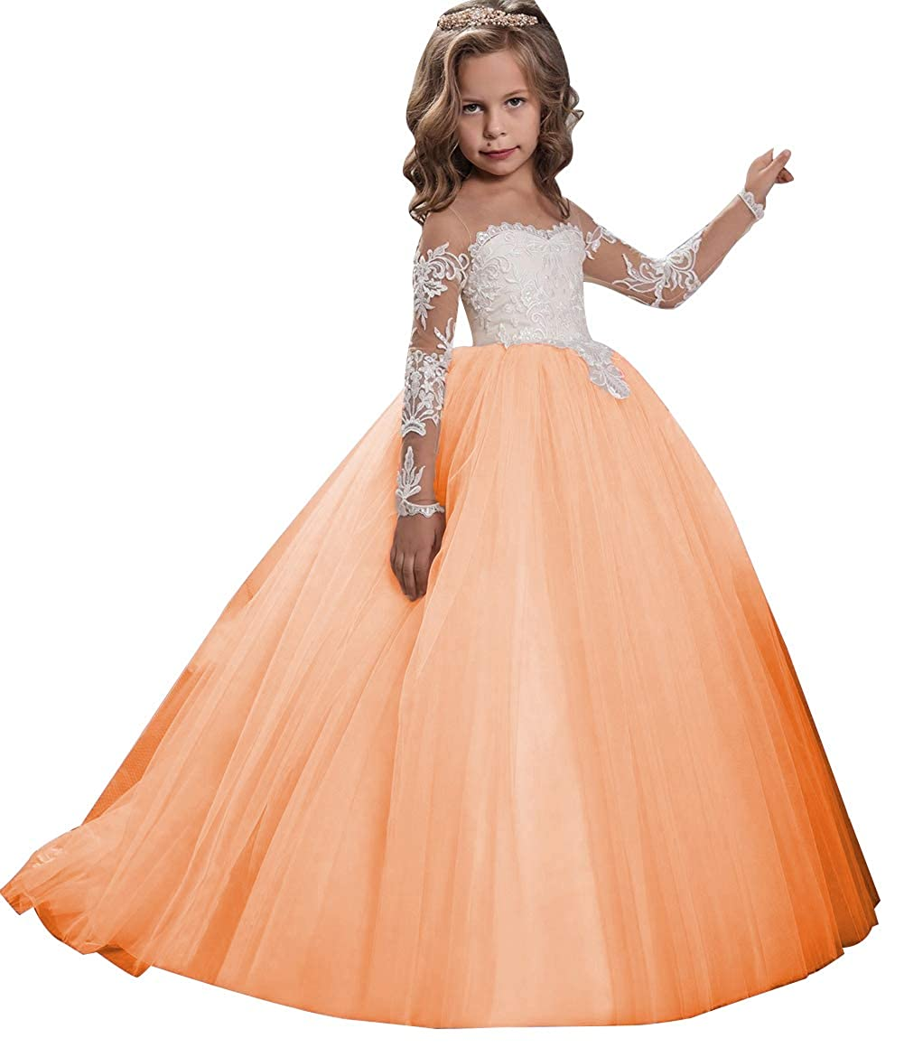 3267a34596b9 Amazon.com: KSDN Flower Girls Dress Toddler Princess Appliques First  Communion Ball Gown with Train: Clothing