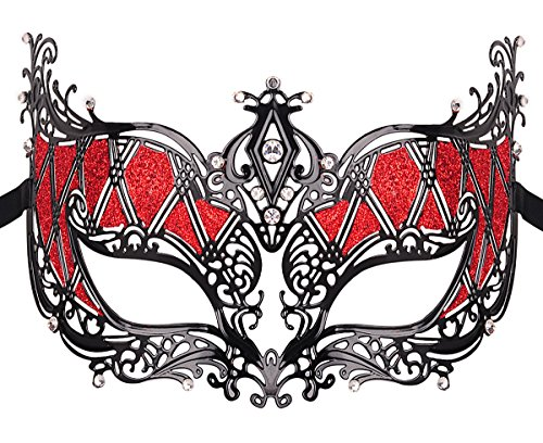[Masquerade Mask Metal Venetian Pretty Party Evening Prom Mask] (Red Masquerade Mask)