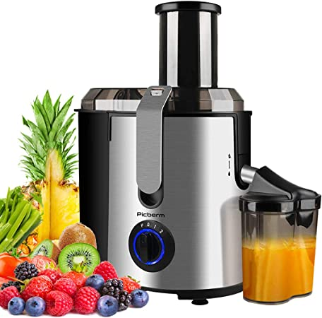 Juicer Picberm Wide Mouth Juicer Machine, 3 Speed Centrifugal Juicers Whole Fruit and Vegetable, 800W Powerful Juice Extractor with Pulse Function
