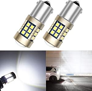 Nanpoku 2pcs 9-30V Super Bright 3000 Lumens 1156 1141 1003 7506 BA15S LED Replacement Bulb White for Car RV Lawn Mover Tractor Interior Light Back up Reverse Light headlight bulb,Long Life