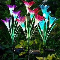 swonuk Lampara Solar Flores,Juego de 3 Luces Solares con 12 Flores de Lirio Luces Exterior Lampara Energía Solar para…