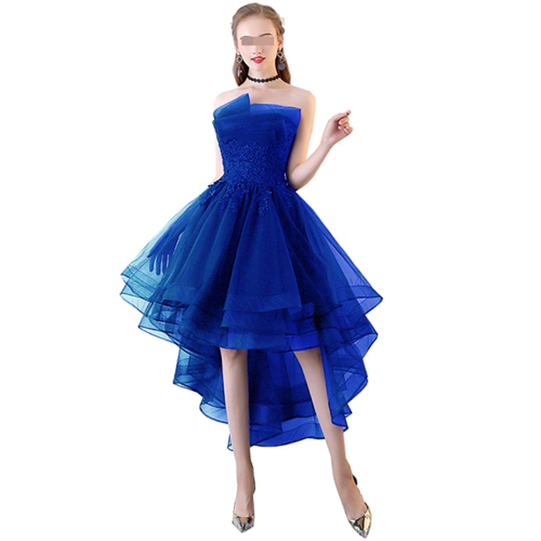 bluee Navy bluee Evening Dresses Short Front Long Back Lace Applique Strapless Vestidos de Festa Formal