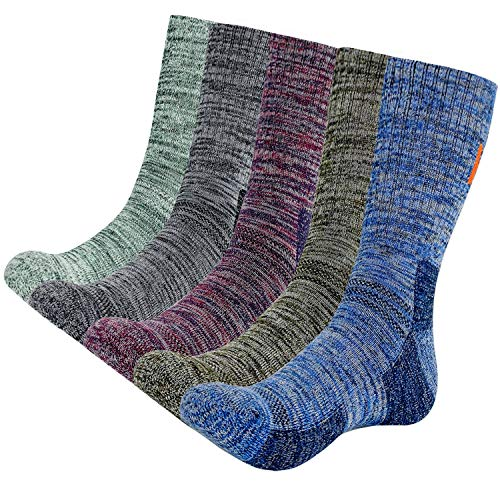 KONY 5 Pairs Men's Moisture Wicking Thick Cushioned Long Hiking Crew Socks, Multi Performance, All Season Gift (Multicolor long-1, Medium(US shoe size 8-11))