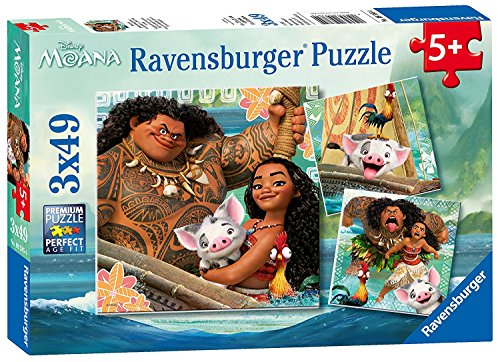 Disney Moana 3 in a Box Puzzles Ages 5+ -